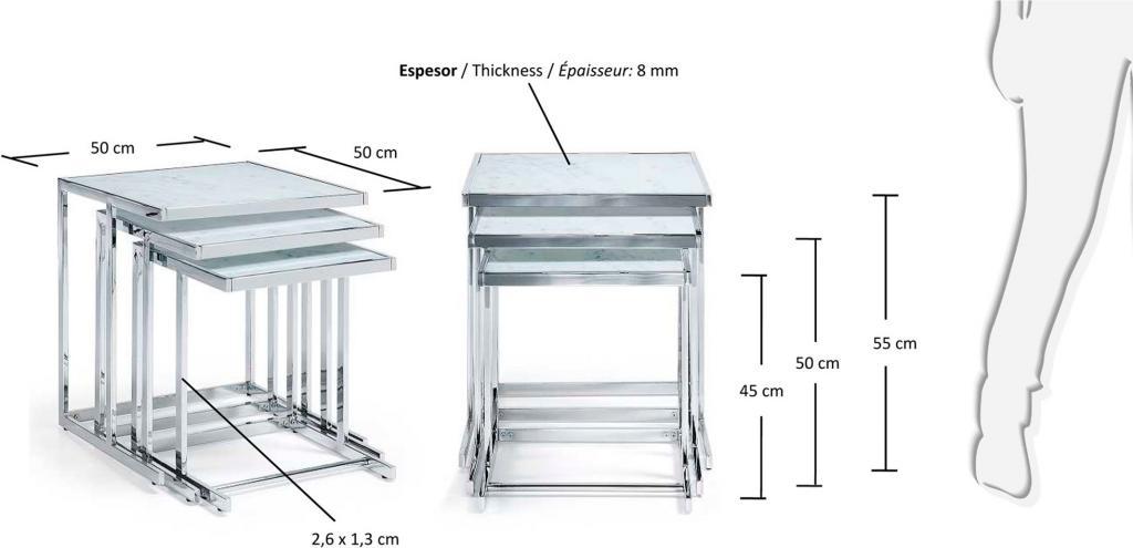 Bijzettafels Blair Set Van 3 Metaal Glas Marmereffect La Forma Lil Nl
